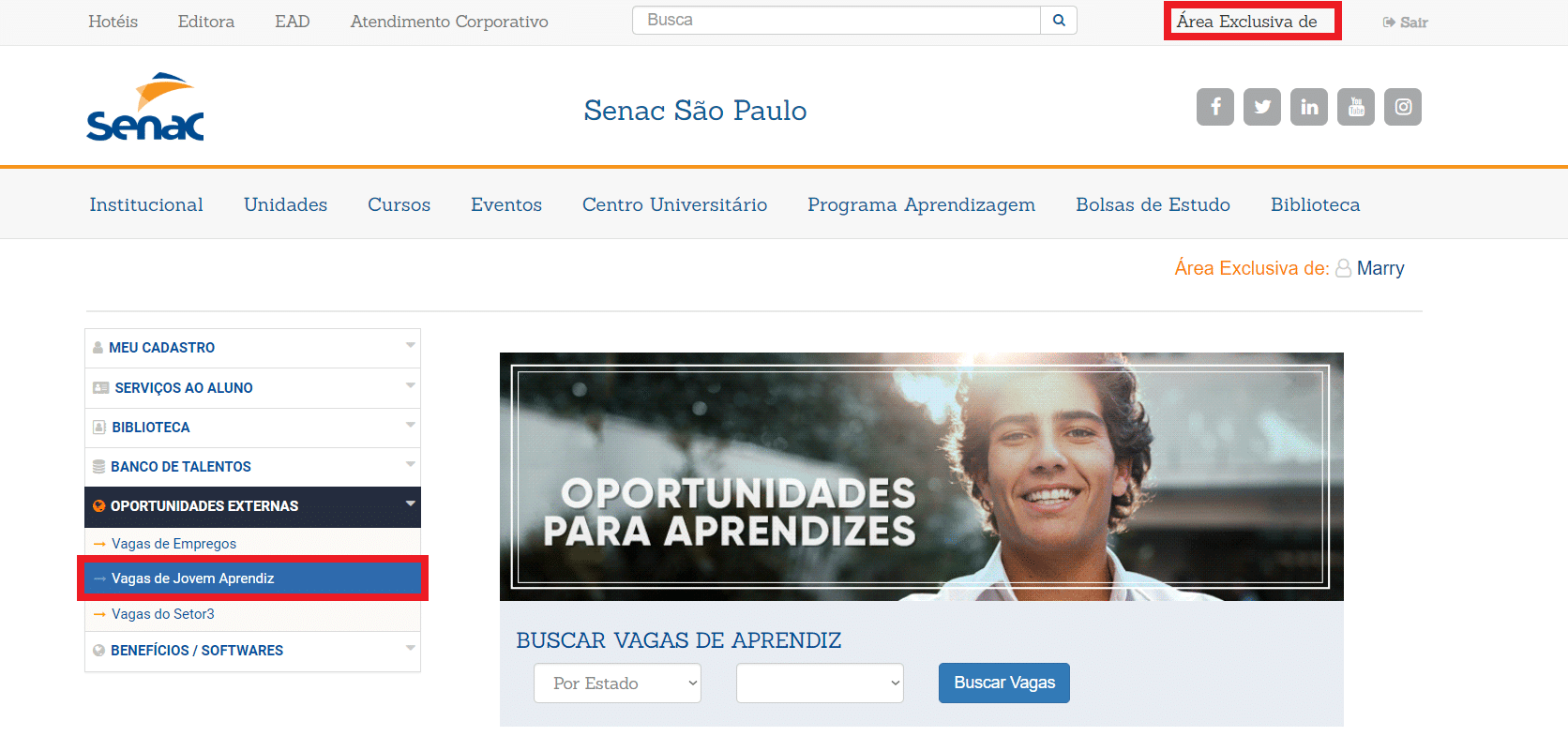 jovem aprendiz senac - print screen da pagina exclusiva